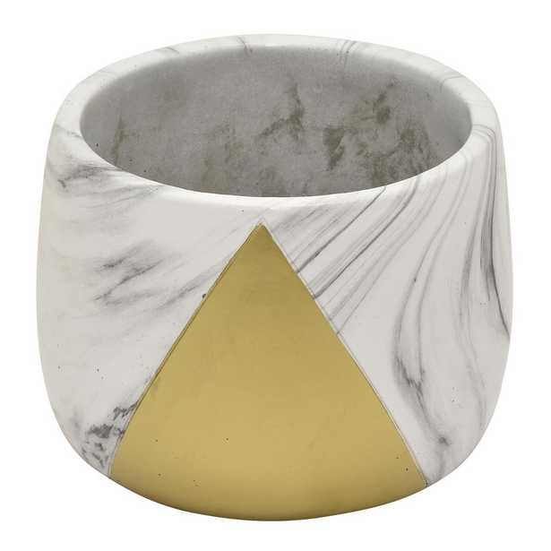 Three Hands 5 in. Flower Pot Marble Look Gold Gold - Home Depot