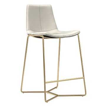 Slope Counter Stool, Leather, Chalk, Antique Brass - West Elm