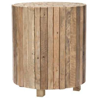 Hooper Solid Wood Drum End Table - Wayfair