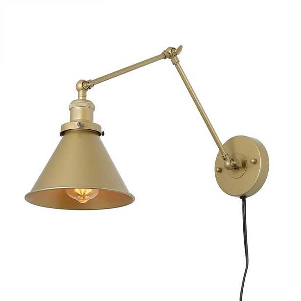 LNC 1-Light Gold Wall Lamp Adjustable Plug-In Wall Sconce - Home Depot