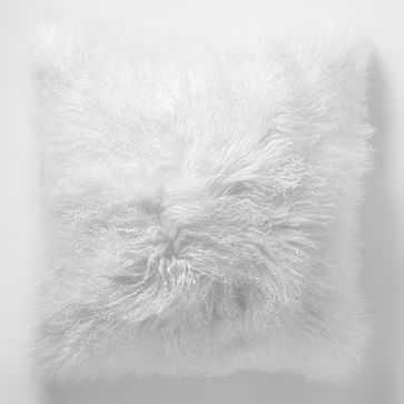 "Mongolian Lamb Pillow Cover, 16""x16"" Stone White - West Elm"