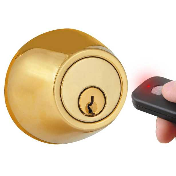 Polished Brass Single-Cylinder Electronic Deadbolt with Keyless Entry via Remote Control for Exterior Doors - Home Depot