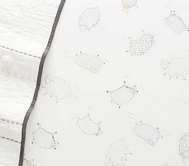 Organic Shelby Sheep Crib Fitted Sheet, Crib Fitted, Grey - Pottery Barn Kids