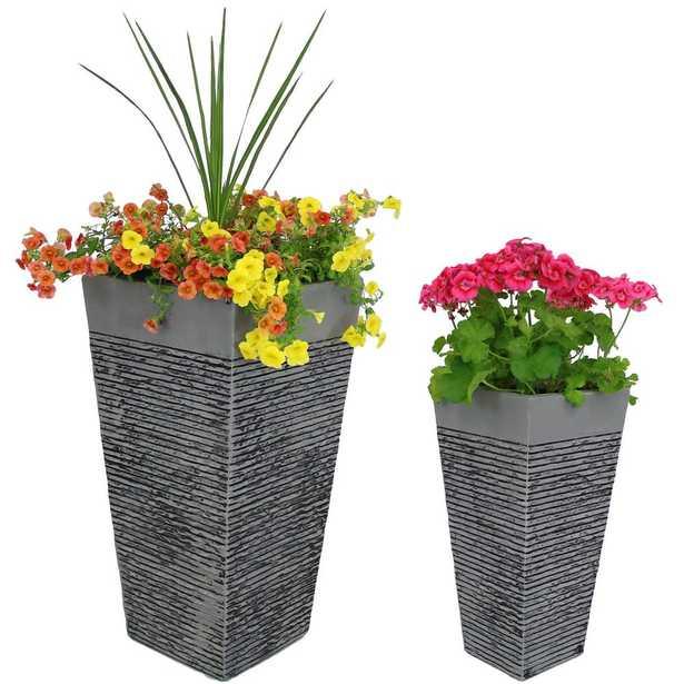 Sunnydaze Decor 2-Piece Set High-Rise Fiber Clay Modern Square Planter Flower Pot, Durable Indoor/Outdoor Use, Gray - Home Depot