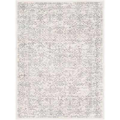 Mac Distressed Floral Silver/Ivory Area Rug - Wayfair