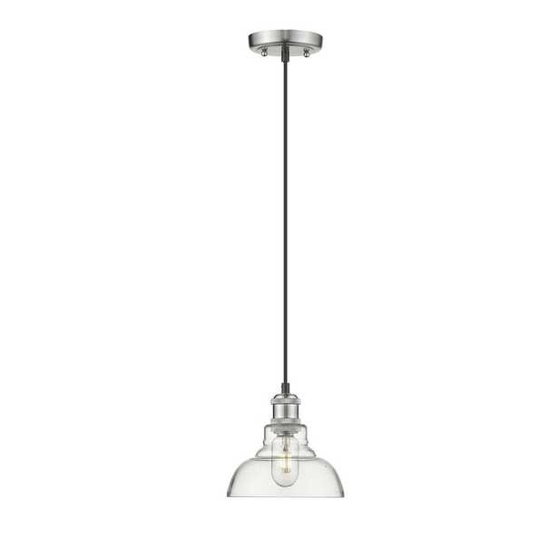 Golden Lighting Carver 1-Light Pewter Pendant with Clear Glass Shade - Home Depot