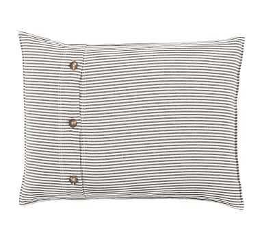 Wheaton Stripe Sham, Standard, Gray - Pottery Barn
