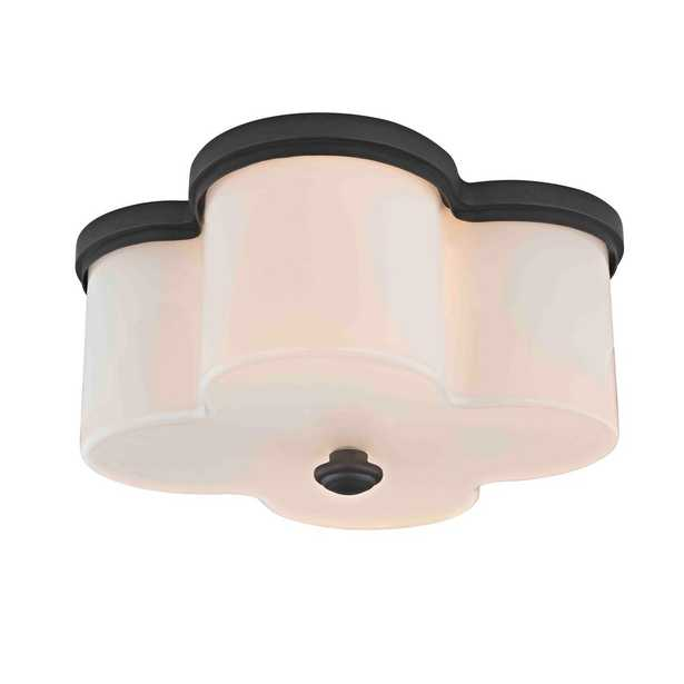 Fifth and Main Lighting Clover 2-Light Old Bronze Flushmount with Opal Glass Shade - Home Depot