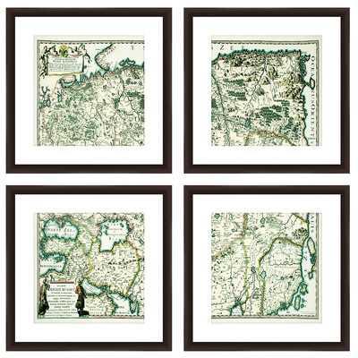 Old World Map 4 Piece Framed Graphic Art Set - Wayfair