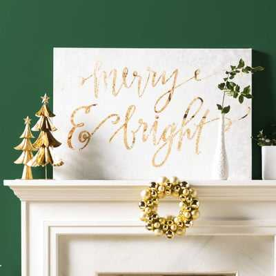 Merry & Bright Textual Art on Wrapped Canvas - Wayfair