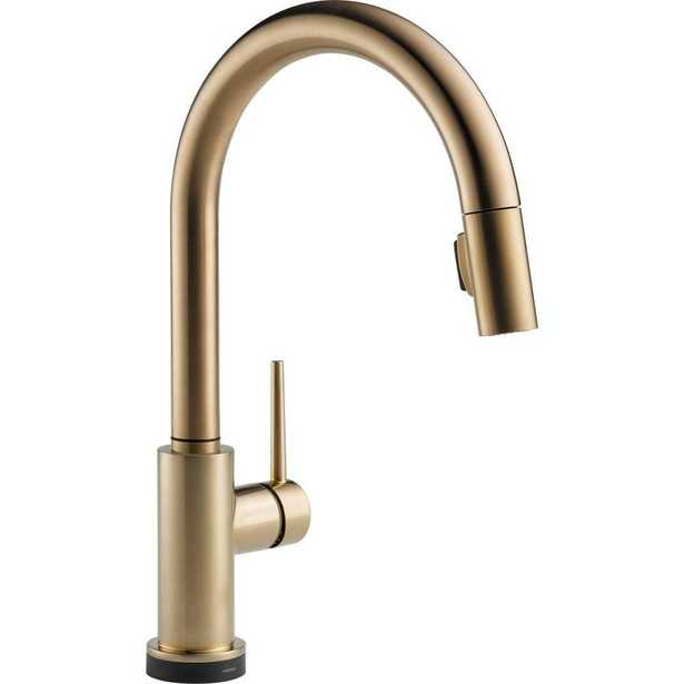 Delta Trinsic Single-Handle Pull-Down Sprayer Kitchen Faucet with Touch2O Technology in Champagne Bronze - Home Depot