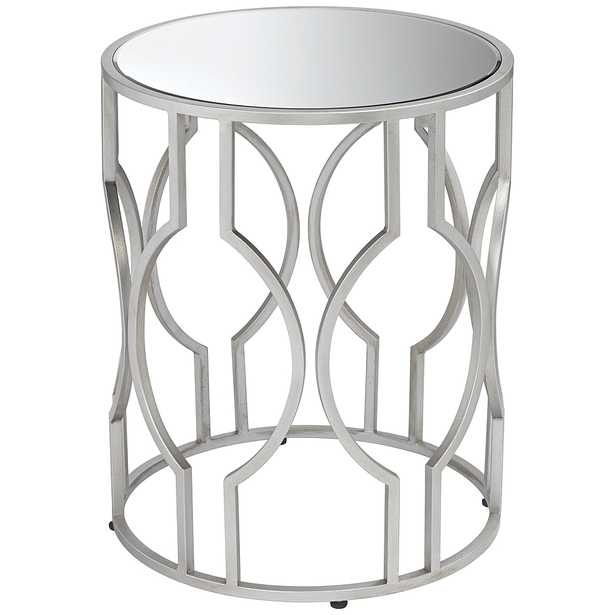 Fara Mirrored Top and Silver Openwork Round End Table - Style # 46H79 - Lamps Plus