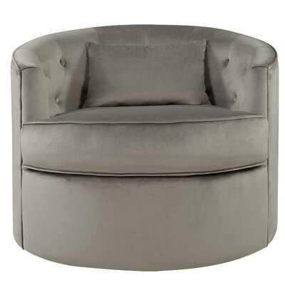 Donahue Velvet Nailhead Tufted Swivel Barrel Chair - Wayfair