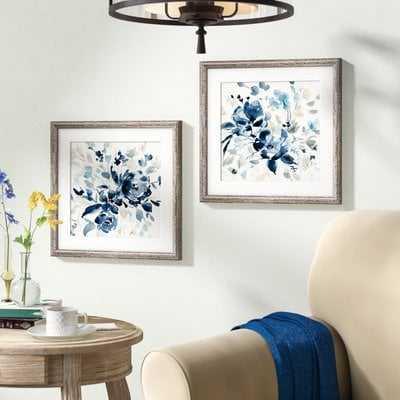 Indigo Garden I 2 Piece Framed Print Set - Birch Lane