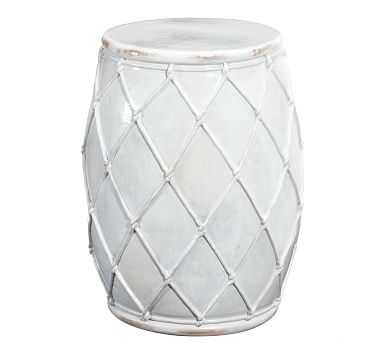 Net Ceramic Accent Table, Ivory - Pottery Barn