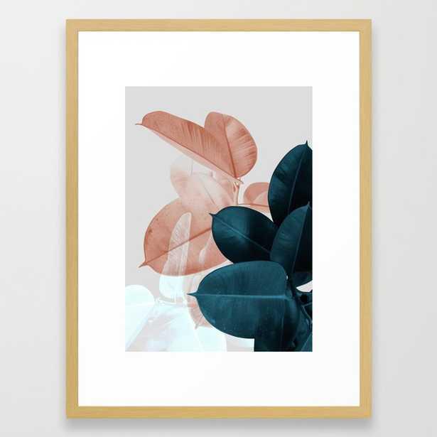 "Blush & Blue Leaves Framed Art Print by Printsproject- Medium (gallery) - 20"" X 26"" - Society6"
