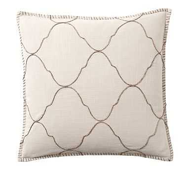 "Tile Embroidered Pillow Cover, 22"", Khaki/Gold - Pottery Barn"