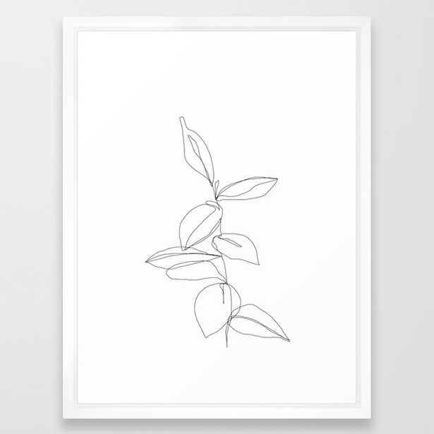 One line minimal plant leaves drawing - Berry Framed Art Print by Thecolourstudy, 20x26 - Society6