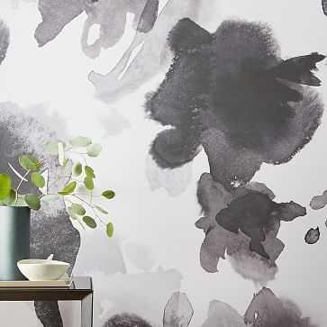 Drop It MODERN In The Flowers Wallpaper, Black - West Elm