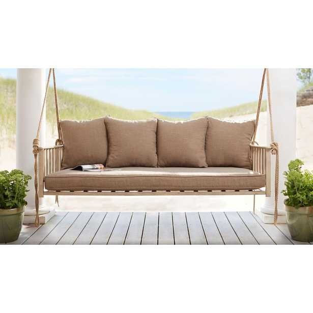 Hampton Bay Cane Patio Swing with Square Back Cushions - Home Depot