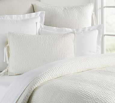 Pickstitch Quilt, Full/Queen, Classic Ivory - Pottery Barn