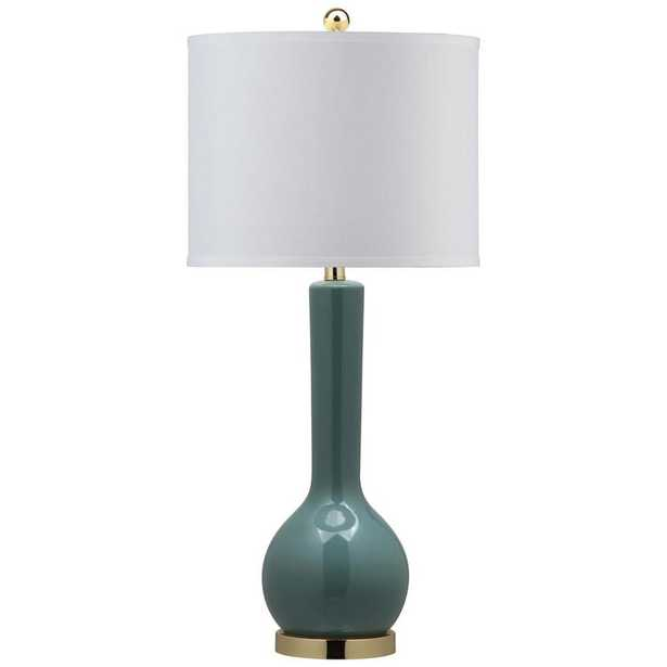 Safavieh Mae 30.5 in. Marine Blue Long Neck Table Lamp with White Shade - Home Depot