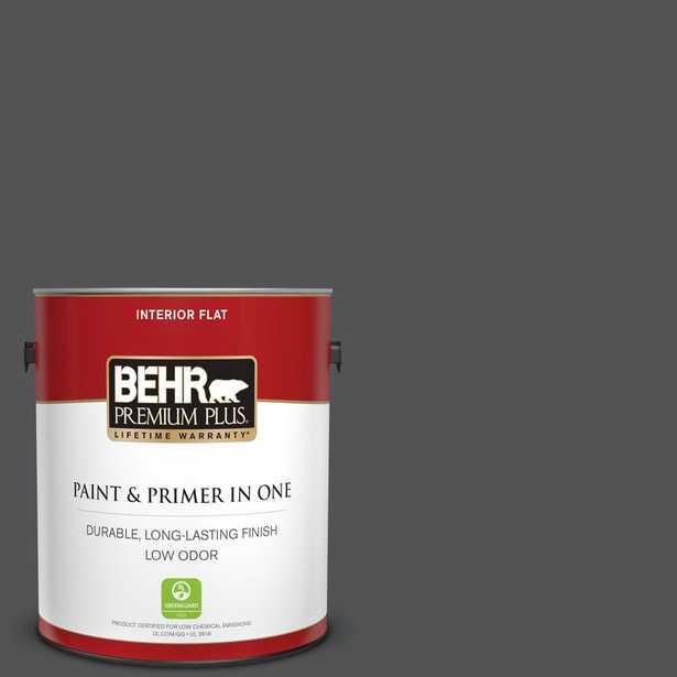 BEHR Premium Plus 1 gal. #QE-62 Maximum Gray Flat Low Odor Interior Paint and Primer in One - Home Depot