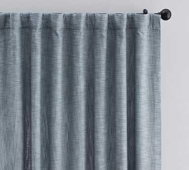 "Seaton Textured Cotton Rod Pocket Curtain 84"", Chambray Blue - Pottery Barn"