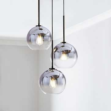 Sculptural Glass 3-Light Round Globe Chandelier, Small Globe, Silver Ombre Shade, Bronze Canopy - West Elm