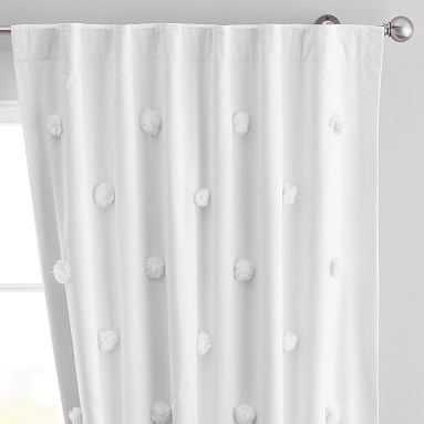 "Pom Pom Applique Blackout Curtain, 84"", White - Pottery Barn Teen"