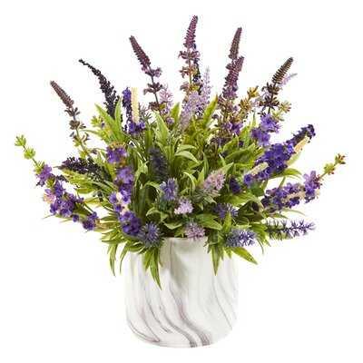 Artificial Arrangement Lavender Plant in Decorative Vase - Wayfair