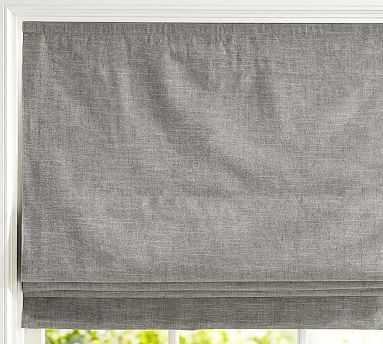 "Emery Linen/Cotton Cordless Roman Shade, 36 x 64"", Gray - Pottery Barn"