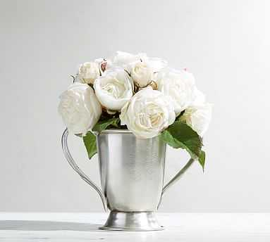 Faux Composed Roses in Silver Vase - Pottery Barn