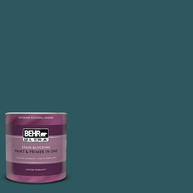 BEHR ULTRA 1 qt. #PPF-56 Terrace Teal Eggshell Enamel Interior Paint and Primer in One - Home Depot