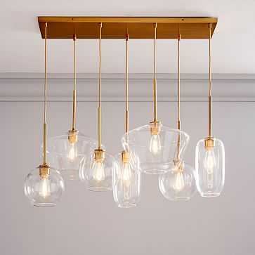 Sculptural Glass 7Lt Linear Mixed Shade Chandelier S Globe/M Pebble/L Geo Clear Brass Canopy - West Elm
