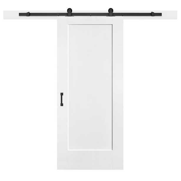 Masonite 36 in. x 84 in. Lincoln Park Primed White Composite Interior Sliding Barn Door Hardware Kit - Home Depot