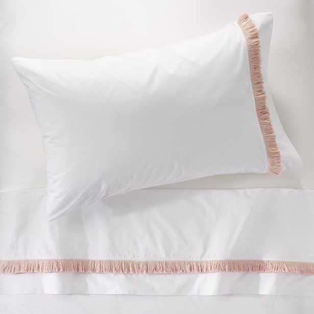 Genevieve Gorder Organic Pink Tassel Twin Sheet Set - Crate and Barrel