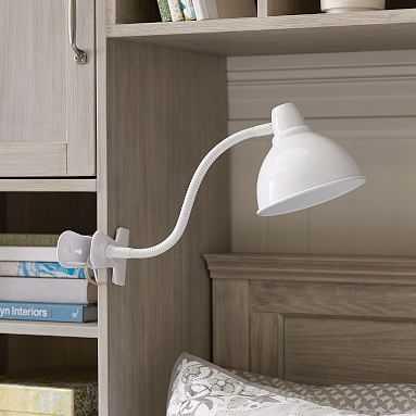 Shine-On Task Lamp Clip, White - Pottery Barn Teen