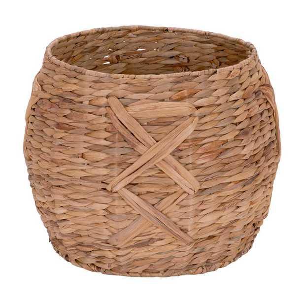 12 in. x 16 in. Water Hyacinth Round Basket, Beige - Home Depot