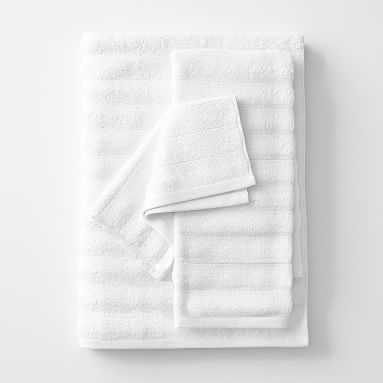 Bamboo Carved Rib Towel, Set of 3, White - Pottery Barn Teen