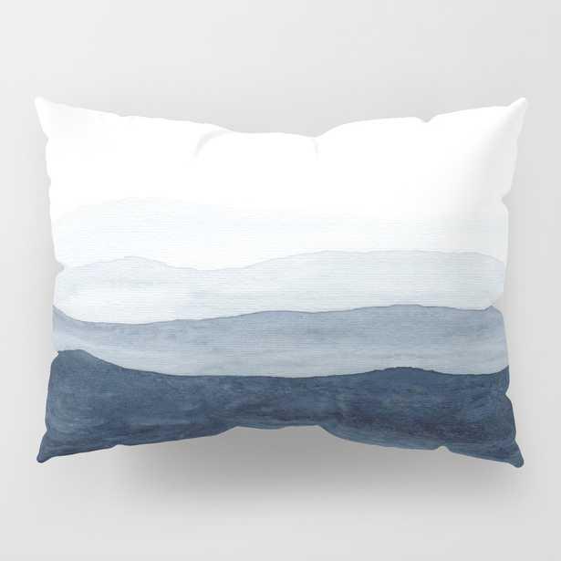 Indigo Abstract Watercolor Mountains Pillow Sham by Ccartstudio - Society6