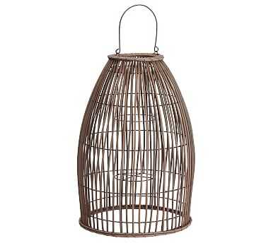 Careyes All-Weather Outdoor Wicker Lantern, Grey - Large - Pottery Barn