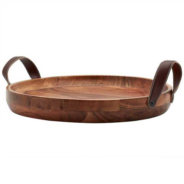 Mason Craft and More 19 in. Round Acacia Wood Serving Tray with Faux Leather Handles - Home Depot
