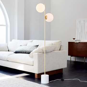 Sphere + Stem Floor Lamp, Brass/Milk Glass, 2-Light - West Elm