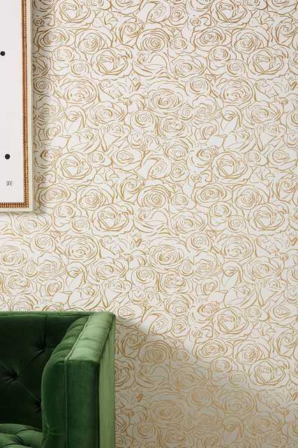Anthropologie Golden Roses Wallpaper - Anthropologie