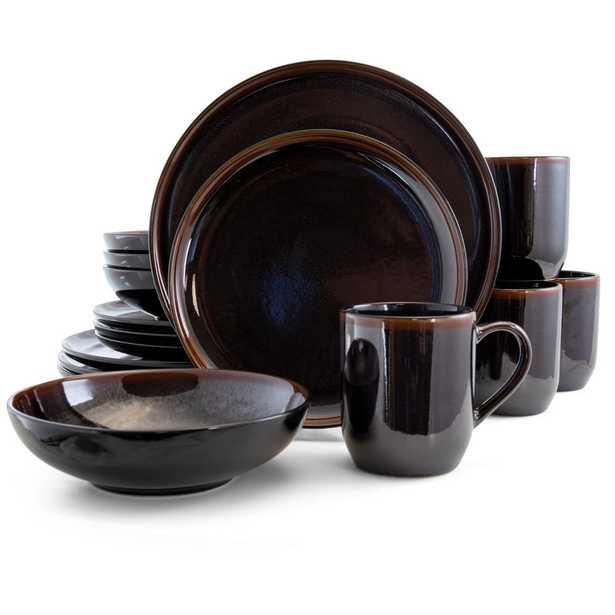 Elama Midnight Beach 16-Piece Modern Metallic Black Stoneware Dinnerware Set (Service for 4) - Home Depot