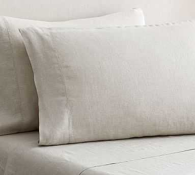 Belgian Flax Linen Extra Pillowcases, Set of 2, King, Natural - Pottery Barn