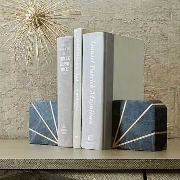 Stone Bookened, Gray Marble, Set of 2 - West Elm