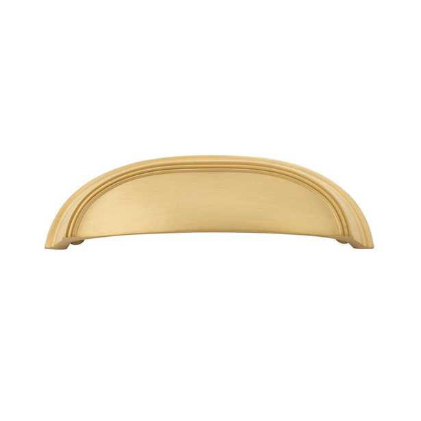 Hickory Hardware American Diner Collection 3 in. (76mm) & 96mm (3-3/4 in.) C/C Brushed Golden Brass Cabinet Drawer & Door Cup Pull - Home Depot