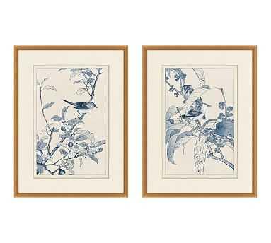 Birds In Blue Framed Paper Print, Set of 2 - Pottery Barn